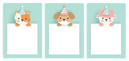 Set of birthday cards with cute animals . vector