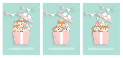 Set of birthday cards with cute fox, monkey and tiger in a gift box vector