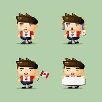 personaje de mascota chico lindo para el día de canadá vector