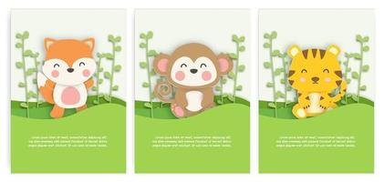 Set of birthday cards with cute fox, monkey and tiger in the forest in paper cut style. vector