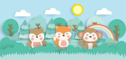 Scene with cute animals in the forest  paper cut style. vector