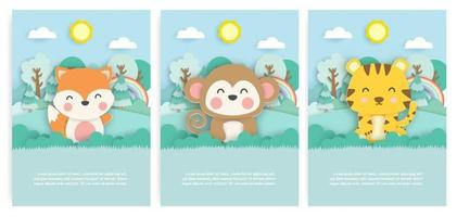 Set of birthday cards with cute fox , monkey and tiger in the forest in paper cut style. vector