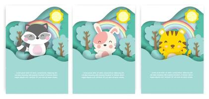 Baby shower cards with cute animals in the forest  paper cut style. vector