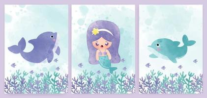 juego de tarjetas de baby shower y tarjetas de cumpleaños con estilo de color de agua de sirena y delfines. vector