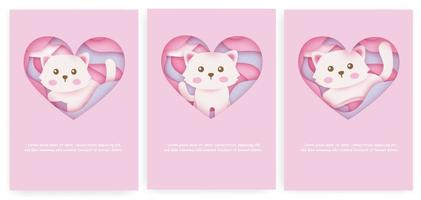 Set of baby shower cards and birthday cards with cute cat in paper cut style. vector