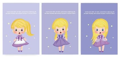 Set of baby shower cards with cute girl. vector