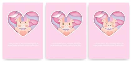 Set of baby shower cards with cute unicorn vector