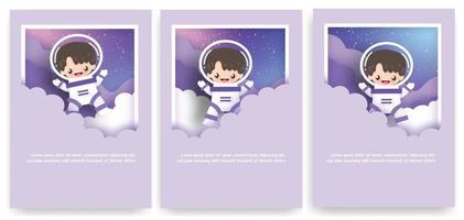 Set of greeting cards with cute astronaut in the universe. vector