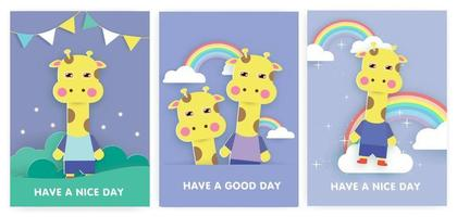 Set of greeting cards with cute giraffe. vector