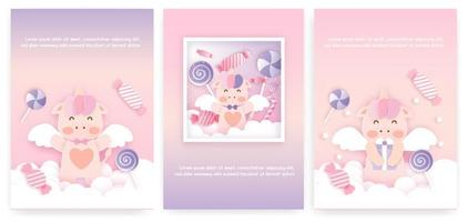Set of baby shower cards with cute unicorn . vector