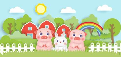 Scene with cute farm animals in the farm  paper cut style