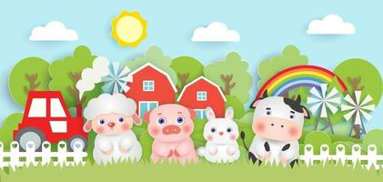 Scene with cute farm animals in the farm  paper cut style.