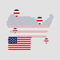 bandera americana con ubicación en el mapa vector