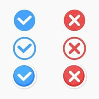 Checkmark blue and red cross icon set vector