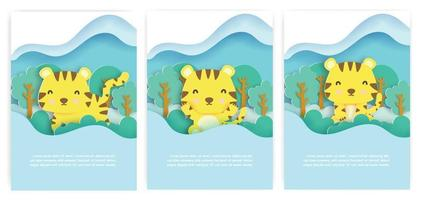 Baby shower cards with cute tiger in the autumn forest  paper cut style. vector