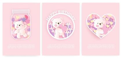 Set of baby shower cards and birthday cards with cute bear . vector