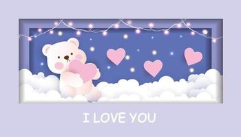 Valentine's day card with cute teddy bear holding a heart in the sky  paper cut style. vector