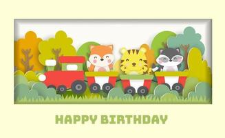 Birthday card  with cute animals standing on a train in the forest vector