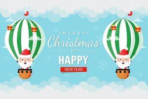 Christmas card with cute Santa Claus flying in a hot air balloon vector