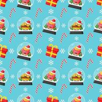 Christmas themed seamless pattern with cute fast food mascot vector