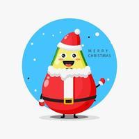 Cute avocado mascot in Santa Claus outfit vector
