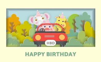 Birthday card  with a cute animals siting in a car in the forest vector