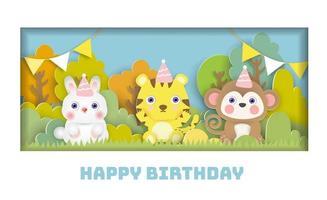 Tarjeta de cumpleaños con linda fiesta de animales en el bosque en estilo de corte de papel. vector