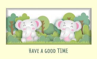 Birthday card  with a cute elephants vector