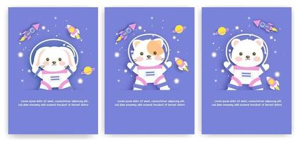 Set of baby shower greeting cards with cute animals in space vector