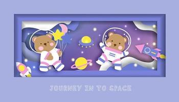 Baby shower card with cute teddy bear standing on the moon vector