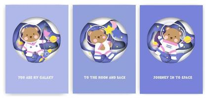Set of baby shower greeting cards with cute teddy bear in the galaxy. vector