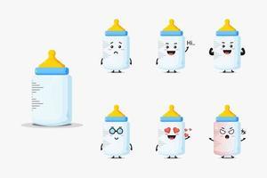 Cute baby bottle mascot set vector