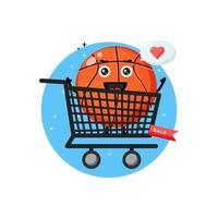 Cute basketball mascot in the shopping cart vector