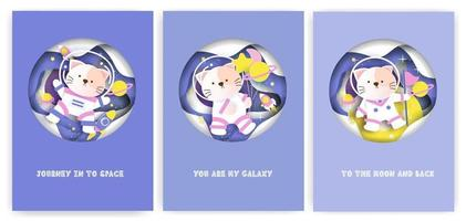 Set of baby shower greeting cards with a cute cat on the galaxy. vector