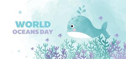 pancarta del día mundial de los océanos con linda ballena en estilo de color de agua. vector
