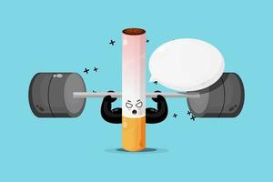 Cute cigarette mascot raises a barbell vector