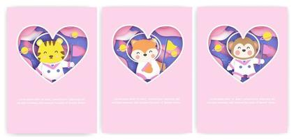 Set of baby shower greeting cards with a cute animals journey into the galaxy . vector