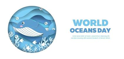 world oceans day banner with cute dolphin in paper cut style. vector