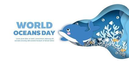 pancarta del día mundial de los océanos con un lindo delfín en estilo de corte de papel. vector
