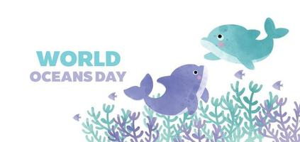 world oceans day banner with cute dolphin in watercolor style vector