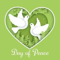 International Day of Peace in paper cut style. vector