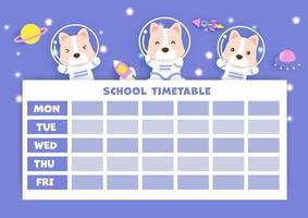 paper art back to school timetable vector