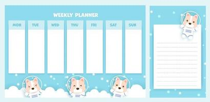 weekly planner with cute corgi dog vector