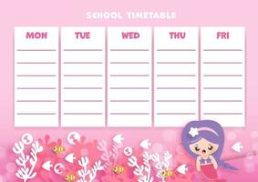 paper art  back to school timetable. vector