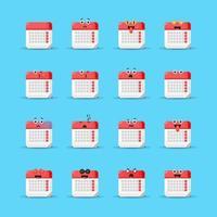 lindo calendario con emoticonos vector