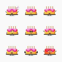 lindo conjunto de diseño de mascota de pastel de cumpleaños vector