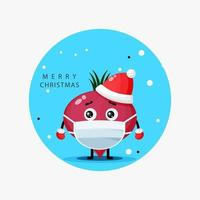 Cute beetroot wearing a Christmas hat and medical mask vector