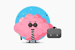 Cute brain mascot leaves for work vector