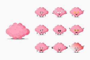 Cute brain mascot set vector
