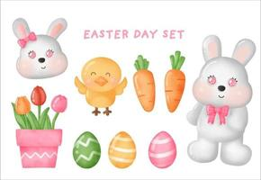 HAPPY EASTER DAY SET with cute easter elements . vector